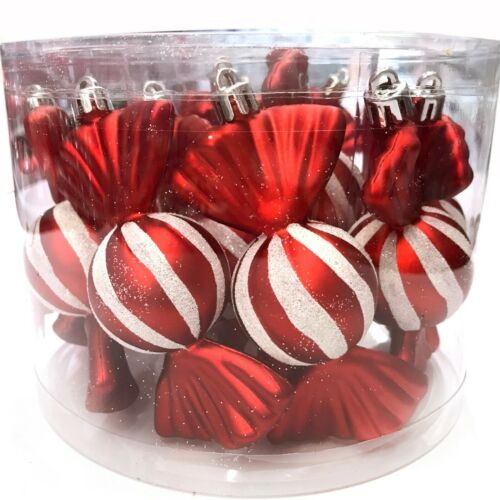 12 CANDY ORNAMENTS | Christmas Tree Red White Striped Peppermint Lot Wrapped