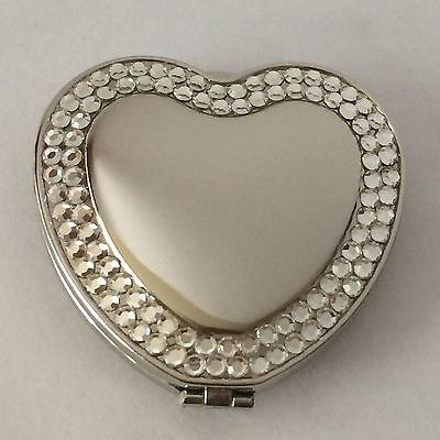 Heart Shaped Double Compact Mirror With Rhinestones, New In Box, Engraved Free (Heart Shaped Mirror)