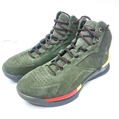 NEW Under Armour UA Curry 1 Lux Mid Size 9.5 Olive Dark Green 1296617-330 $150 - Mid Dark Olive