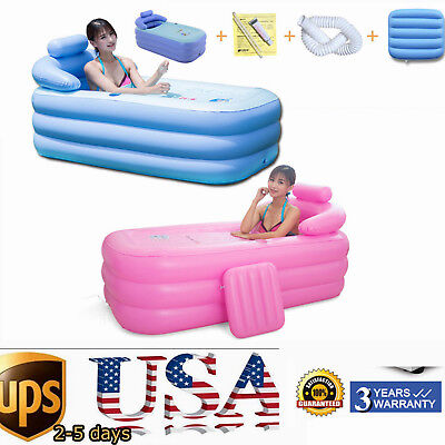Warm PVC Folding Portable Bathtub Inflatable Pool Blowup Adult Spa Outdoor NEW ()
