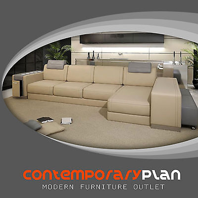 Ultra Modern Italian Leather Sectional Sofa Contemporary Design -Cream and - Ultra Modern Sofas