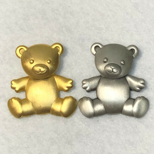 Vintage JJ TEDDY BEAR Jewelry Brooch PIN SET of 2 gold and silver