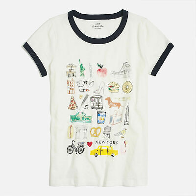 Women's J Crew NYC New York City Collector Graphic T-shirt Top Ivory/Navy Tee XS