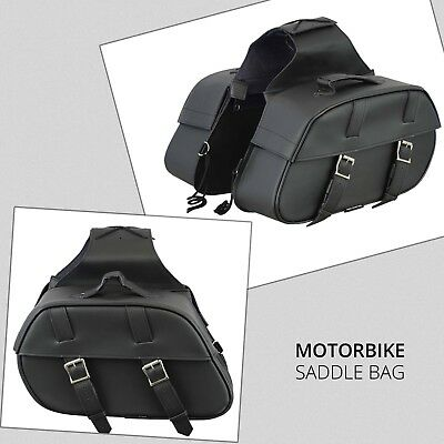 Black Motorcycle Motorbike Panniers Biker Cruiser Leather Saddle bag Universal