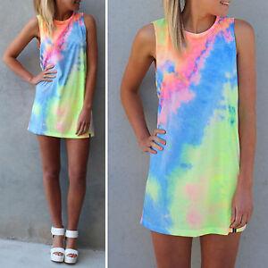 Summer rainbow tie dye pastel t shirts blouse sleeveless for Tie dye sleeveless shirts