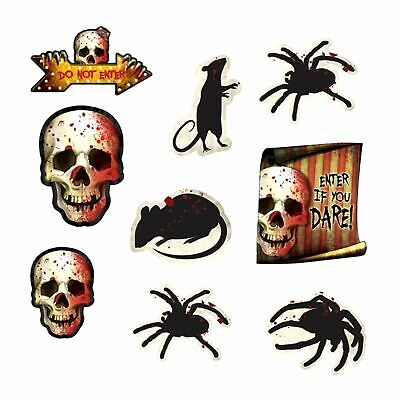 Haunted Circus Decorations (12 Creepy Halloween Spider Skull Circus Haunted House Cutout Party)