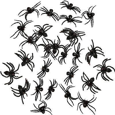 27 große eklige Deko Spinnen 8 cm Halloween Dekoration schwarz Horror Partydeko