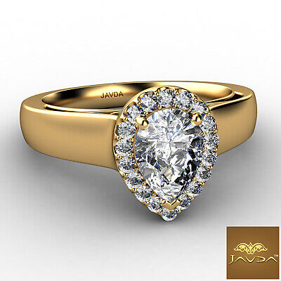 Halo Pave Set Womens Pear Diamond Engagement Ring Certified by GIA F VVS2 0.70Ct 1