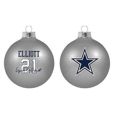 Dallas Cowboys Zeke Elliot NFL Boelter Player Glass Christmas Ornament 2 5/8