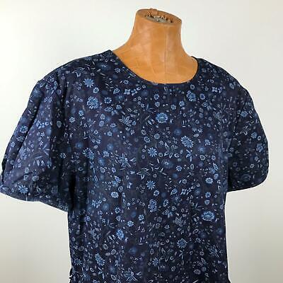 GAP Round Neck Zip Back Short Sleeve Blue Floral Print Dress Women's Size Large Short Sleeve Printed Zip