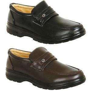 Mens-Brown-or-Black-Wider-Fit-Slip-On-Comfort-Shoes-Size-6-7-8-9-10-11-12