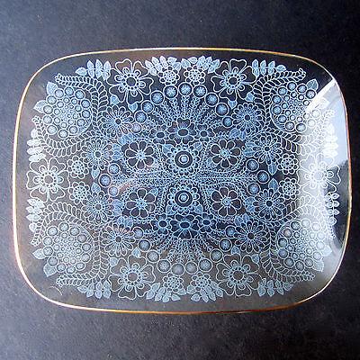 Vintage CHANCE FILIGREE Glass Dish White Lace Gold Rim Pattern Rectangular 70s