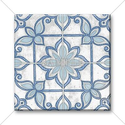 Blue Tile Design - Ceramic Tile - Moroccan Tile Design Vintage Colors Blue Grey White Home Decor