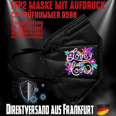 FFP2 Maske Mundschutz Mundmaske schwarz CE0598 Love Rainbow Regenbogen LGBT