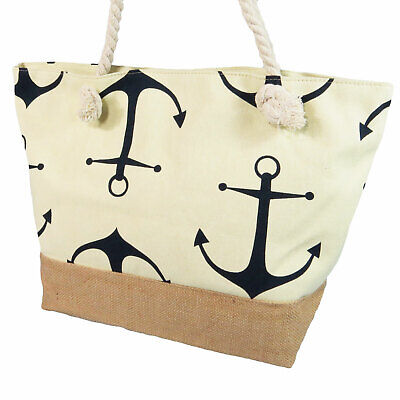 Nautical Anchor Tote Bag Rope Handles Zippered Top Handbag Purse New