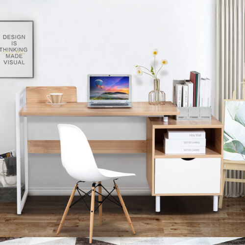 Wood Computer Desk Home Office Workstation With Drawer