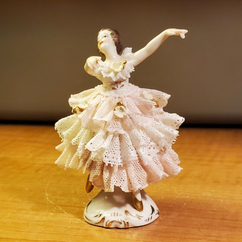 Vintage German Porcelain Ballerina Pink Lace Petite Figurine