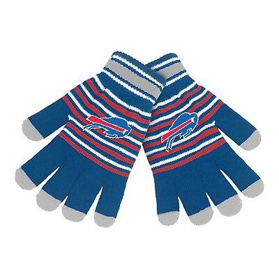 Buffalo Bills Gloves Acrylic Stripe Knit Sports Logo Winter NEW Texting Tips