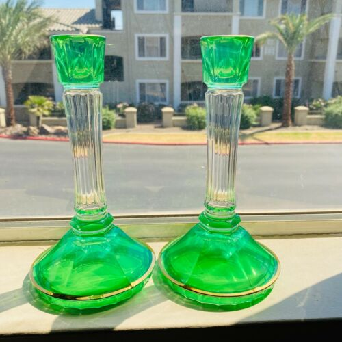 Vintage Glass Green Candlestick Tapered Candle Holder 8.5 Inch Tall - Set of 2