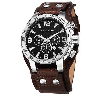 New Men's Akribos XXIV AK727SSB Chronograph Tachymeter Brown Leather Strap Watch