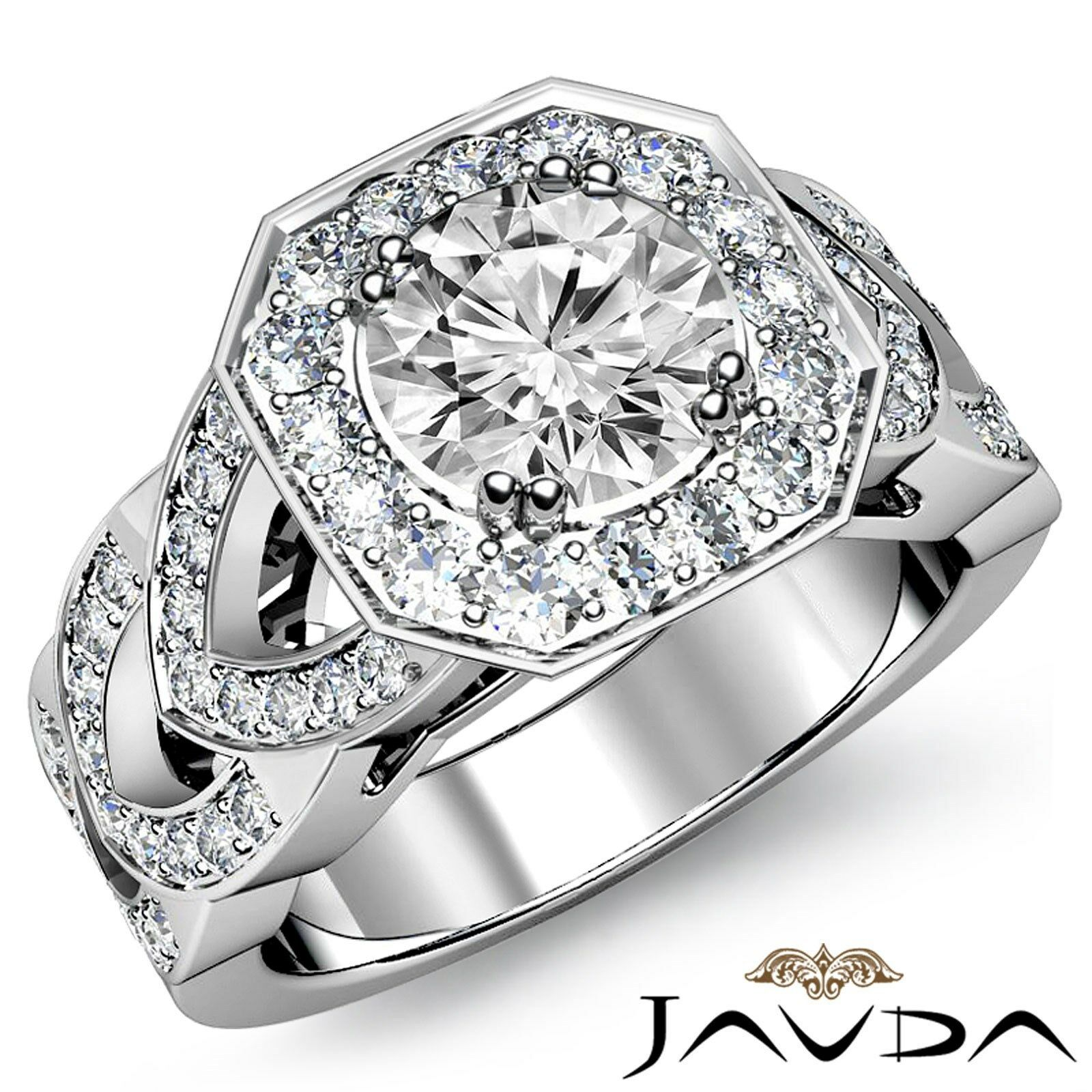 Double Prong Split Shank Halo Round Cut Diamond Engagement Ring GIA G VS2 2.78Ct