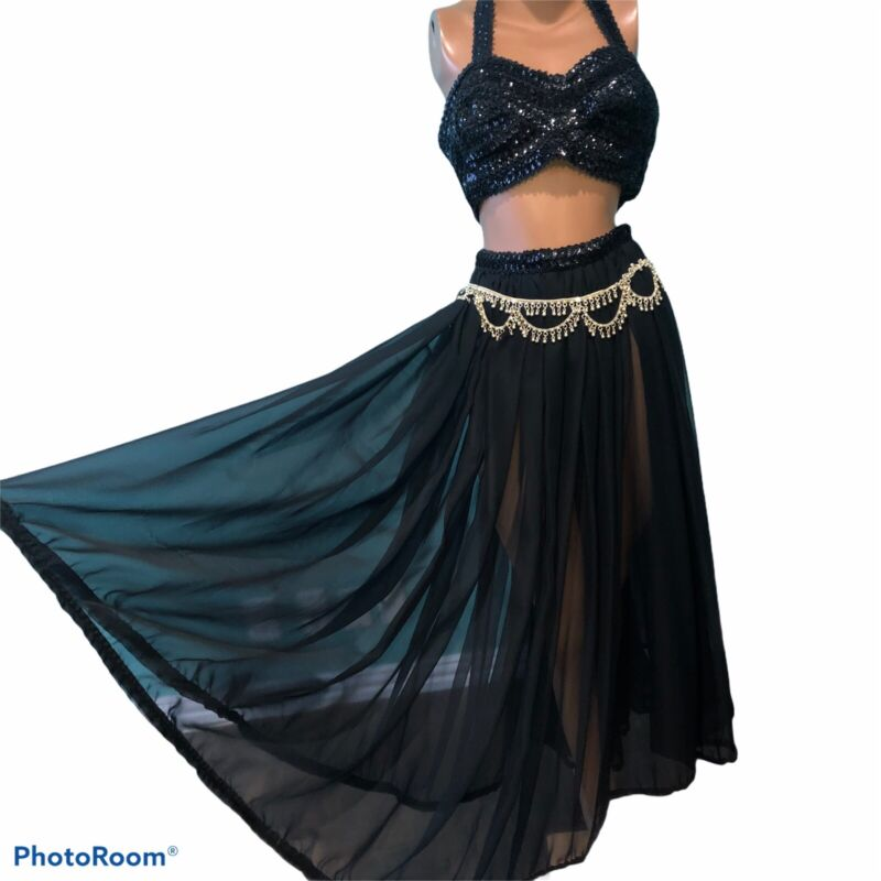Vintage 60s Belly Dance Costume Black Chiffon Halter Bra Belt + XXL 2X 3X