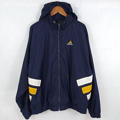 Vtg Adidas Windbreaker Jacket Blue yellow 3 stripe Spell Out LOGO Vented men XL