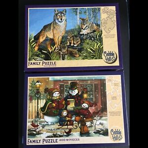 Two Cobble Hill Family Puzzles - small, med and large pieces!