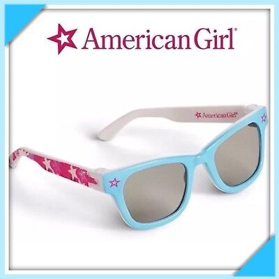 """BRAND NEW AMERICAN GIRL STARRY BLUE SUNGLASSES & PINK CARRYING CASE FOR 18"""" DOLL"""