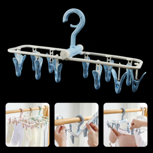 12 Clips Drip Hanger Clothes Drying Dryer Rack Sock Bra Underwear Undies Hanging