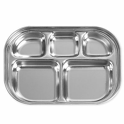 Divided Stainless Steel Food Snack Tray Lunch Box Portion Plate Diet Infant Kid