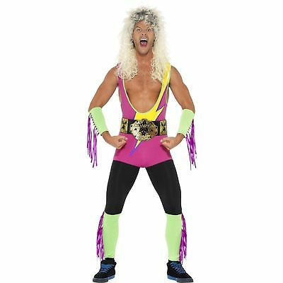 Wwe Fancy Dress Adults (Retro Wrestler WWE WWF Wrestling 80s 90s Adults Mens Fancy Dress)