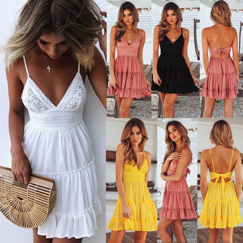 Damen Boho Minikleid V-Ausschnitt Sommerkleid Strandkleid Partykleid Trägerkleid