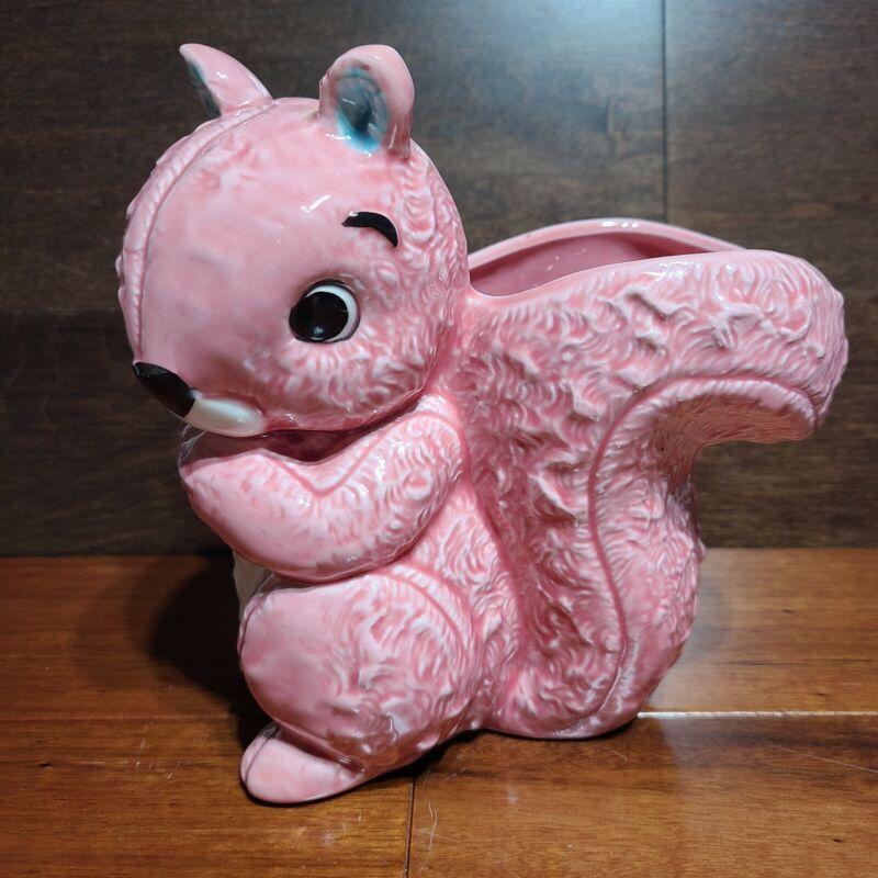 Vintage Lefton Ceramic MCM Pink Squirrel Planter Vase Intact Sticker Japan Rare