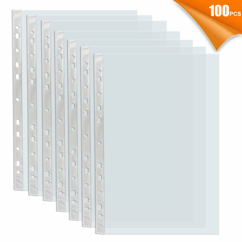For A4 Paper 100x Sleeves Clear Sheet Page Protector Document Office Ring Binder