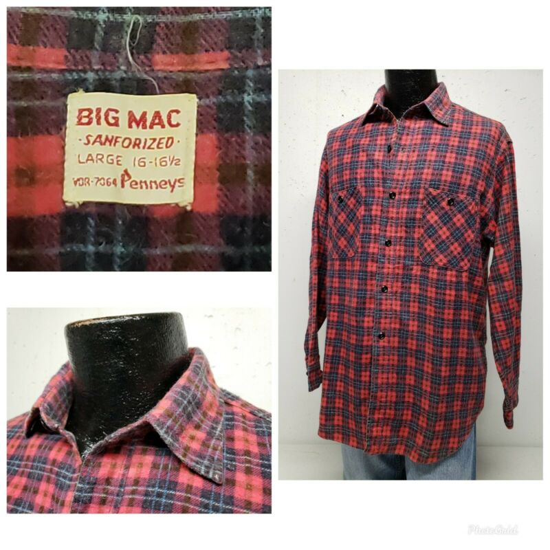 Vtg 50s Penneys Big Mac SANFORIZED Red Plaid Flannel Work Shirt L USA