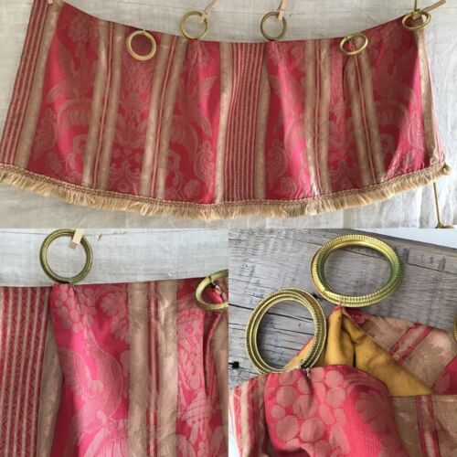 Antique French Silk Stripe Damask Fabric 19thc. Napoleon III Valance  Brass Ring