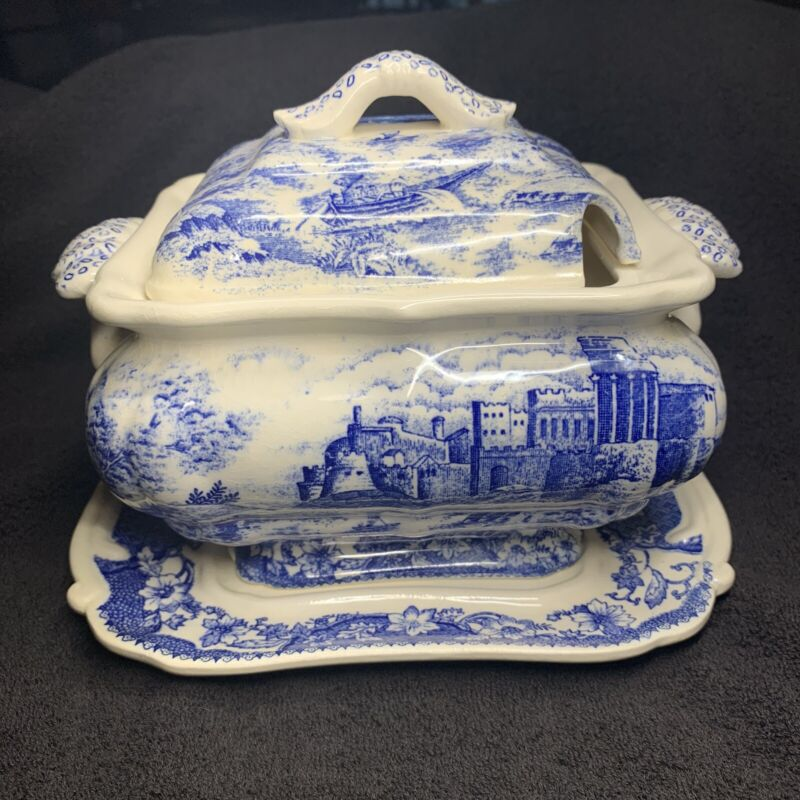 Antique Blue And White Soup Tureen 3 Piece Set