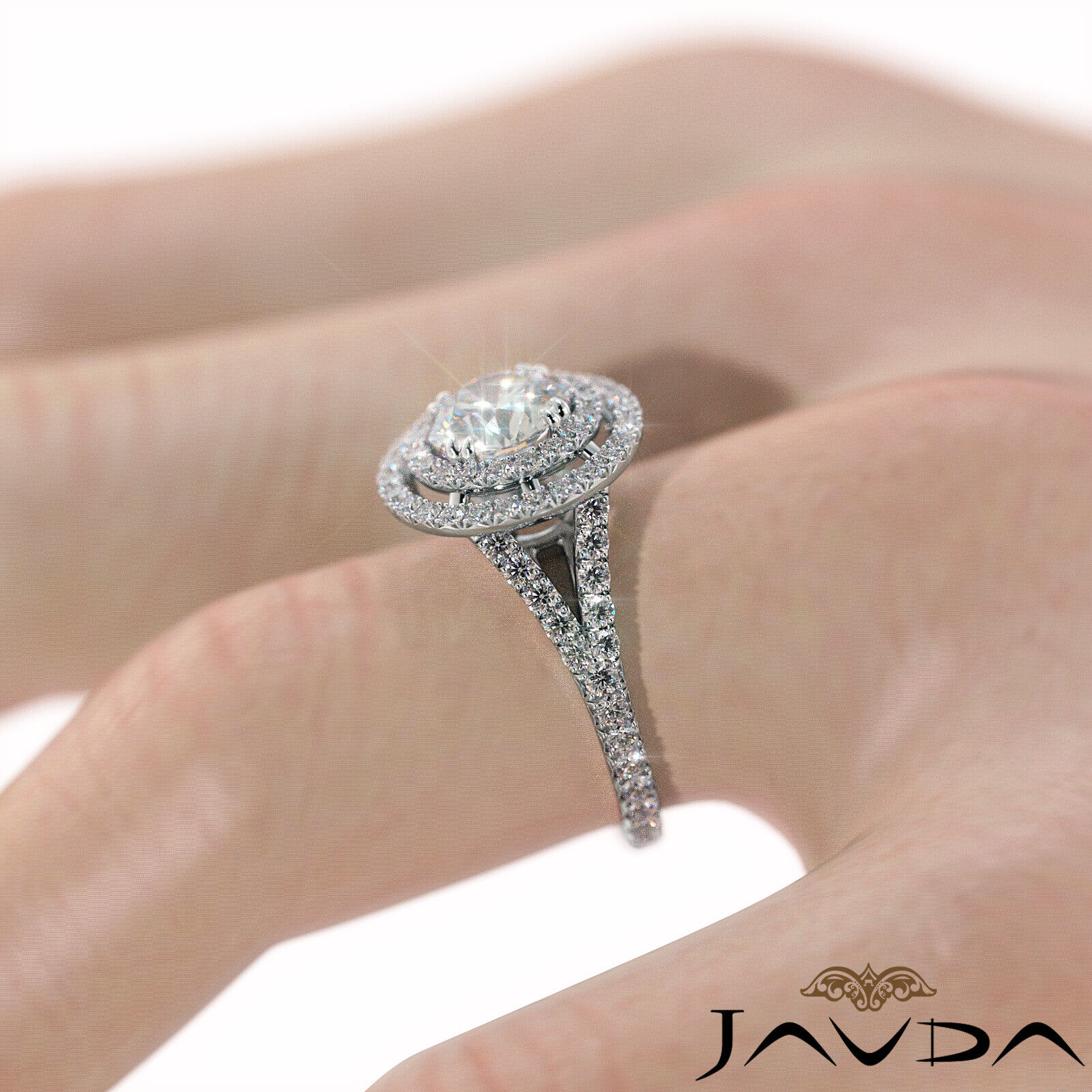 2.05ct French Pave Gala Halo Round Diamond Engagement Ring GIA F-VVS1 White Gold 5
