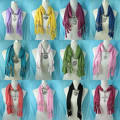 *US SELLER* lot of 10 Jewelry Charm Scarf Wholesale pendant necklace scarf