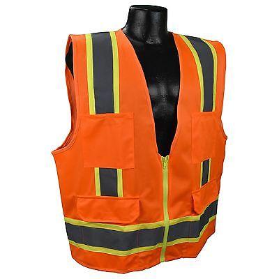 Full Source Class 2 Reflective Surveyor Safety Vest with Pockets, - Orange Vest