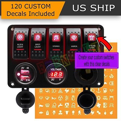 Red LED 5 Gang ON-OFF Toggle Switch Panel 2 USB 12V Car Boat Marine RV Truck
