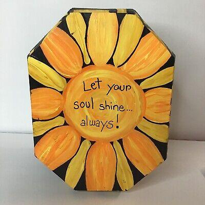 "Folk Art Sunflower Acrylic Decorative Wooden Octagon Box ""Let Your Soul Shine"""