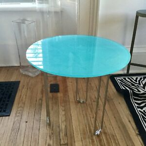 Turquoise glass side table
