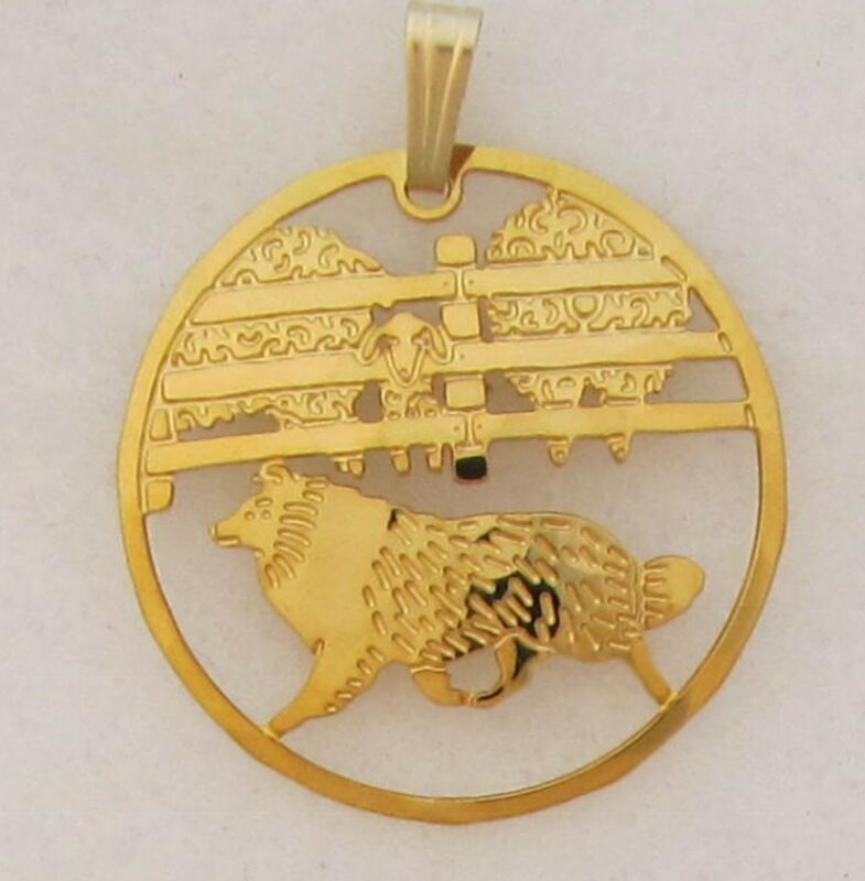 Shetland Sheepdog Gold Scene Pendant  by Touchstone