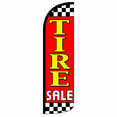 Windless Swooper Feather Flag Tall Banner Sign 3 Wide Tire Sale Red Yellow