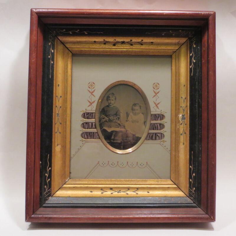 Antique Victorian Eastlake Deep Picture Frame Satin Inlets Mat