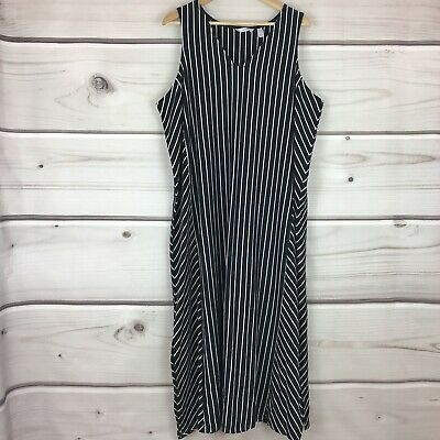 AnyBody Womens 1X V Neck Cozy Knit Maxi Dress Sleeveless Tank Black Striped
