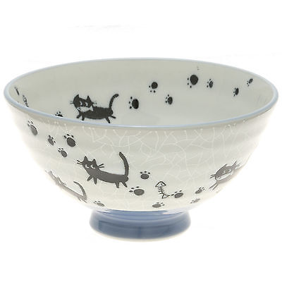"10x Japanese 4""Grey Crackle Blk Cats  Rice Bowl #130-617"