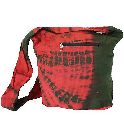 Tasche Batik Beutel Schultertasche Umhängetasche Goa Hippie Tie Dye Rot Grün 8 - Dye Tasche
